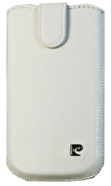 Pouzdro Pierre Cardin - SLIM, vertikální, velikost Samsung i9100 Galaxy SII, bílé (125x66x8,5mm)