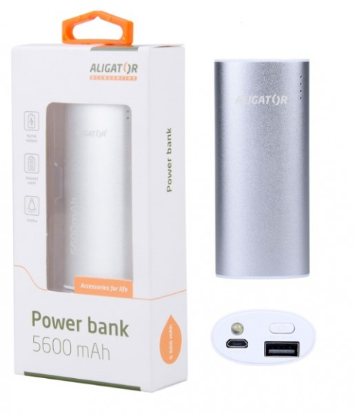 Power banka ALIGATOR PB560, 5600mAh, se SVÍTILNOU, stříbrná