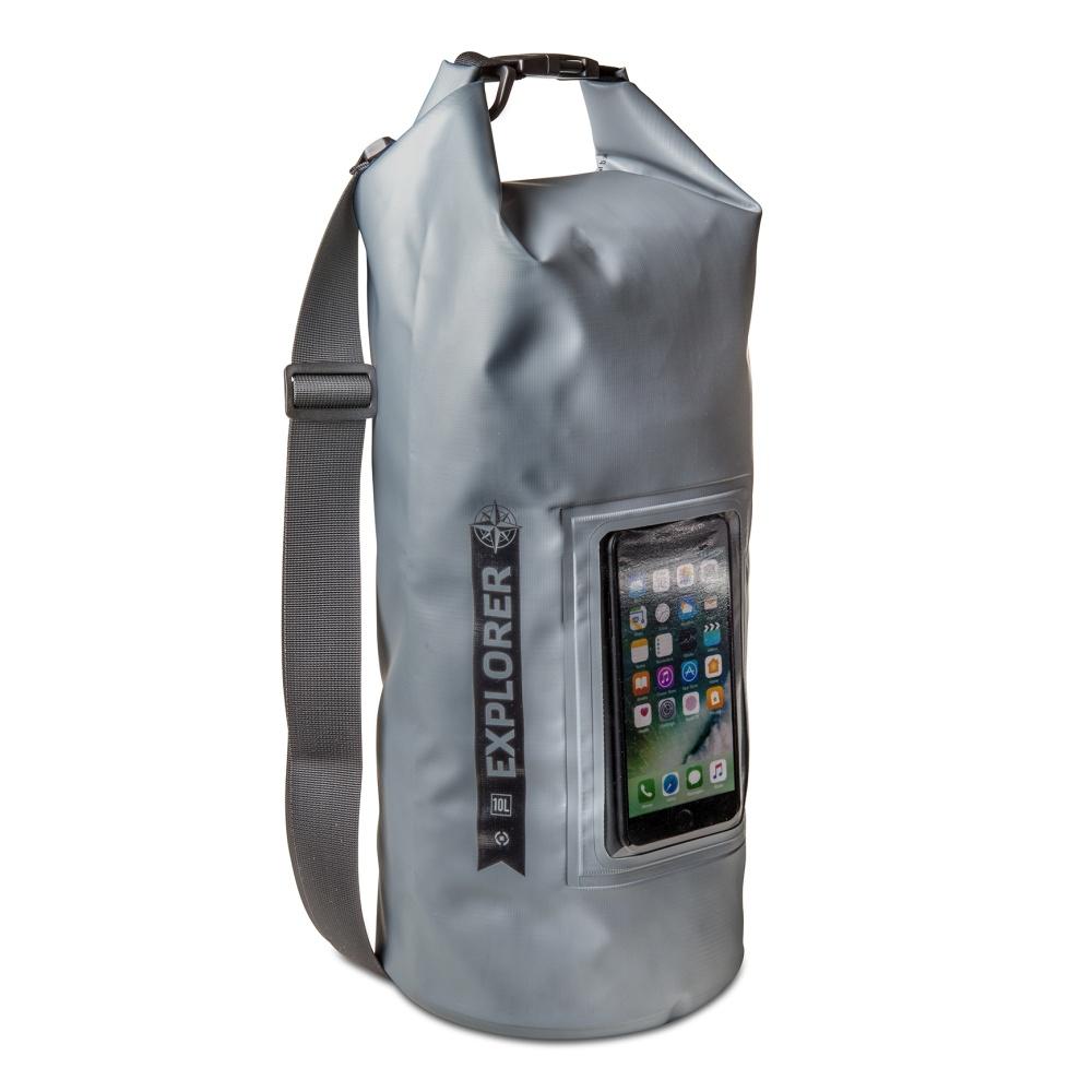 """CELLY Explorer voděodolný vak 10L s kapsou na telefon do 6.2"""", šedý"""