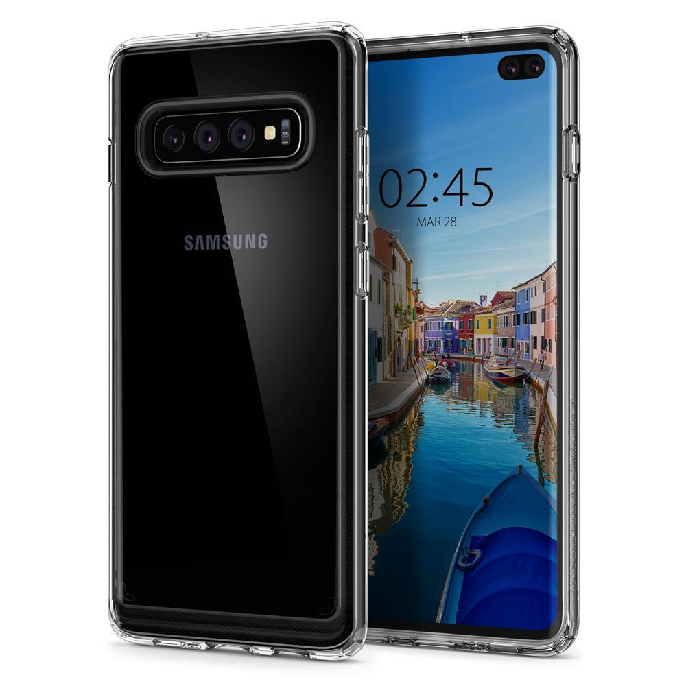 Ochranný kryt Spigen Crystal Hybrid pro Samsung Galaxy S10 plus transparentní