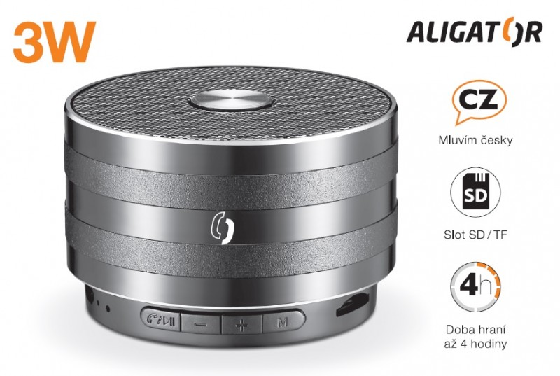 Bluetooth kovový reproduktor ALIGATOR ABS2, micro SD, černá