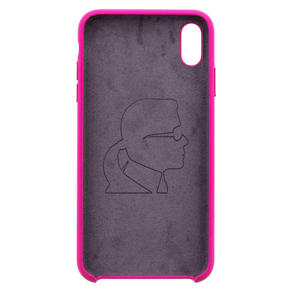 Silikonové pouzdro Karl Lagerfeld Body Iconic Apple iPhone XS Max, fushia