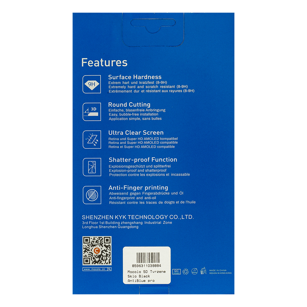 Tvrzené sklo Mocolo 5D AntiBlue pro Apple iPhone XS Max/11 Pro Max, black