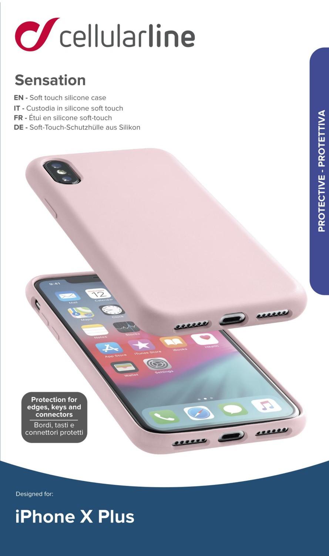 Silikonové pouzdro CellularLine SENSATION pro Apple iPhone XS Max, starorůžová