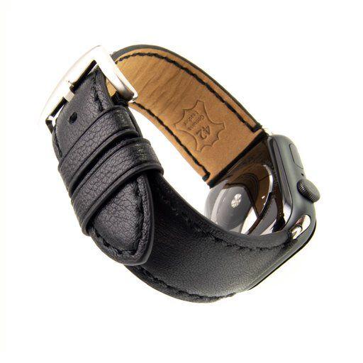 Kožený řemínek FIXED Berkeley pro Apple Watch 42 mm a 44 mm se stříbrnou sponou, velikost L, černý