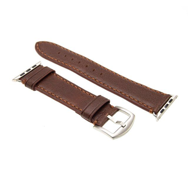 Kožený řemínek FIXED Berkeley pro Apple Watch 42 mm a 44 mm se stříbrnou sponou, velikost L, hnědý