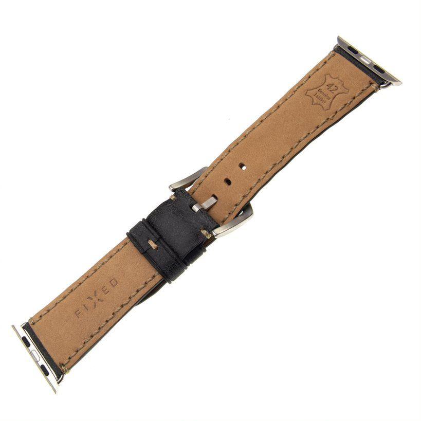 Kožený řemínek FIXED Berkeley pro Apple Watch 42 mm a 44 mm se stříbrnou sponou, uhlově černý