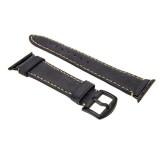 Kožený řemínek FIXED Berkeley pro Apple Watch 42 mm a 44 mm s černou sponou, velikost L, uhlově černý