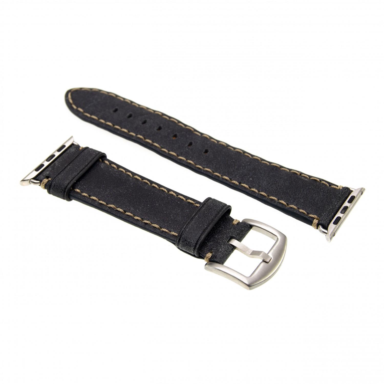 Kožený řemínek FIXED Berkeley pro Apple Watch 42 mm a 44 mm se stříbrnou sponou, velikost L, uhlově černý