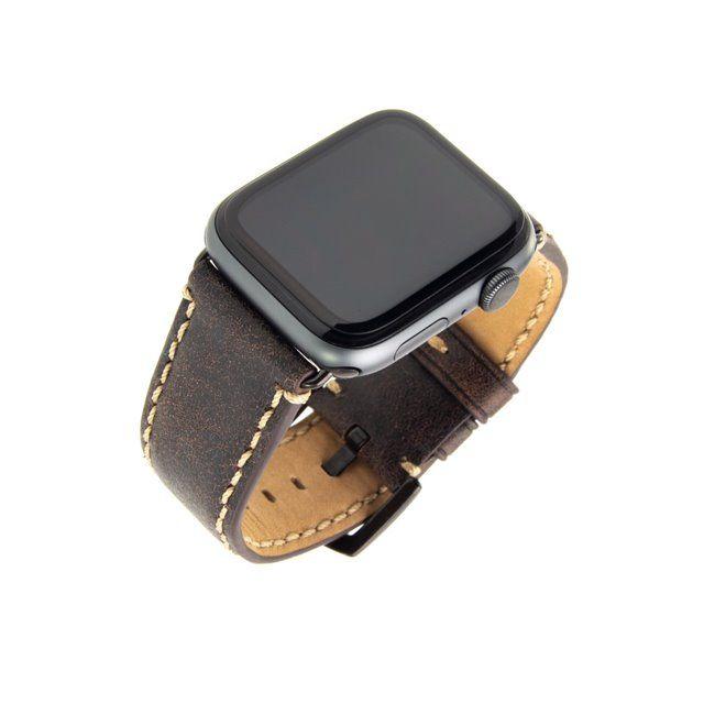 Kožený řemínek FIXED Berkeley pro Apple Watch 42 mm a 44 mm s černou sponou, uhlově hnědý
