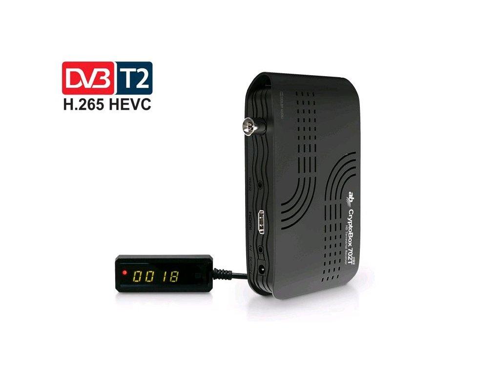 AB CryptoBox 702T mini HD DVB-T2/Full HD/ MPEG2/ MPEG4/ HEVC/ USB/ černá