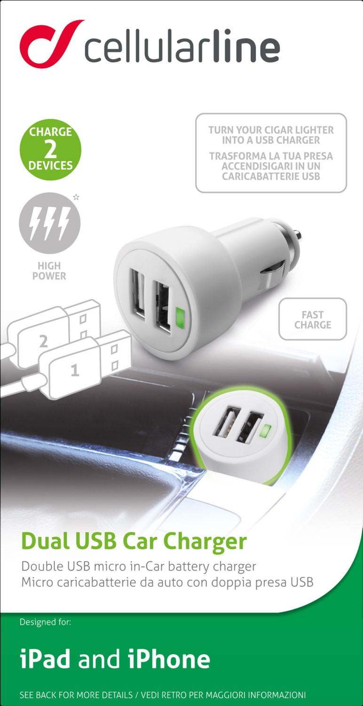 Autonabíječka Cellularline Dual Ultra vhodná pro iPad, 2 x USB port, 15W/3A, bílá