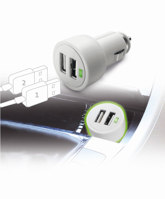 Autonabíjačka CellularLine Dual Ultra, 2 x USB port, 15W / 3A, biela