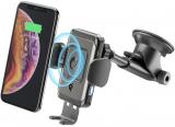Univerzální držák Cellularline Pilot Instant Wireless s funkcí bezdrátového nabíjení, černá