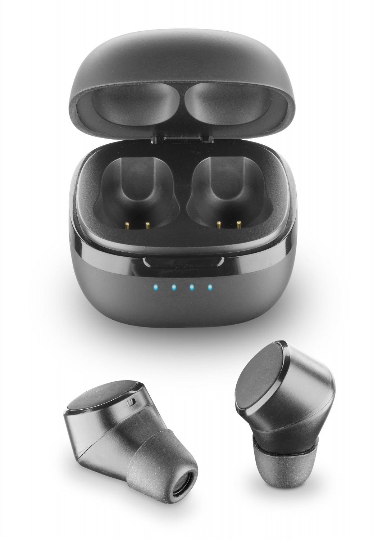 True wireless sluchátka Cellularline Evade s dobíjecím pouzdrem, černá
