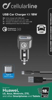 Nabíjecí set USB autonabíječky a USB-C kabelu Cellularline, Qualcomm® Quick Charge™ 3.0, 18W, černý
