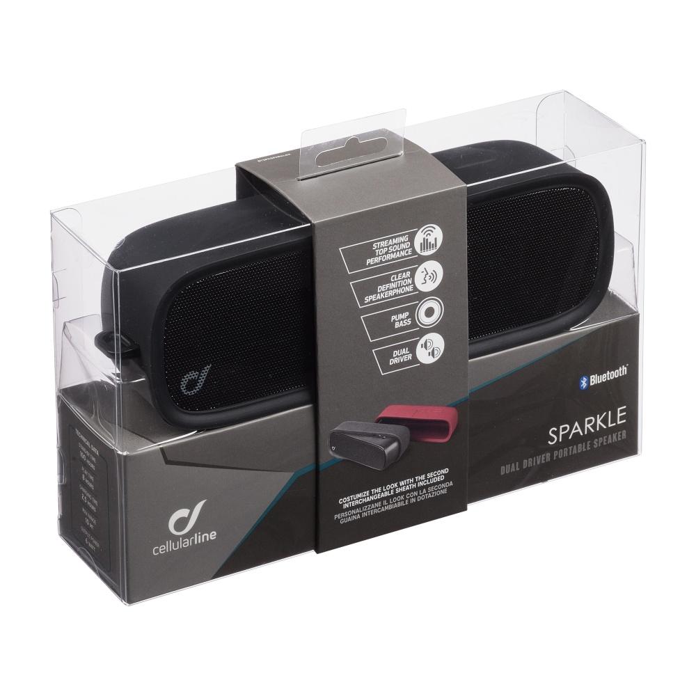 Bezdrátový reproduktor CELLULARLINE SPARKLE, AQL® certifikace, 2x repro, 6W, výměnné silikonové obaly, černá a červená,r