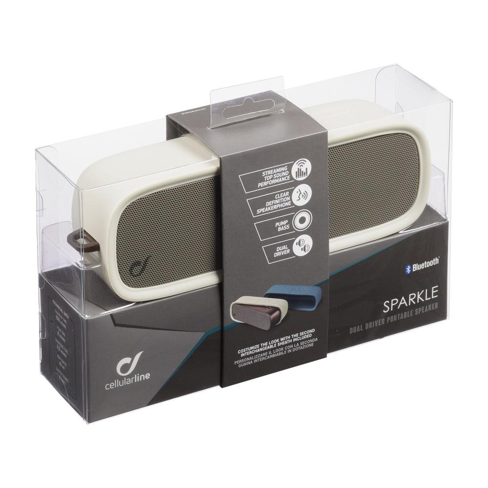 Bezdrátový reproduktor CELLULARLINE SPARKLE, AQL® certifikace, 2x repro, 6W, výměnné silikonové obaly, bílá a modrá