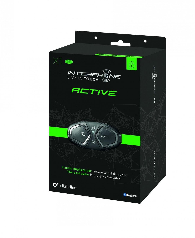 Bluetooth handsfree pro uzavřené a otevřené přilby CellularLine Interphone ACTIVE, Single Pack
