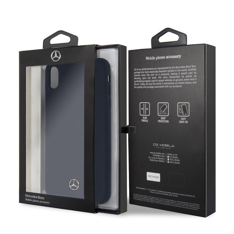 Mercedes Lining silikonové pouzdro MEHCI65SILNA pro Apple iPhone XS Max navy