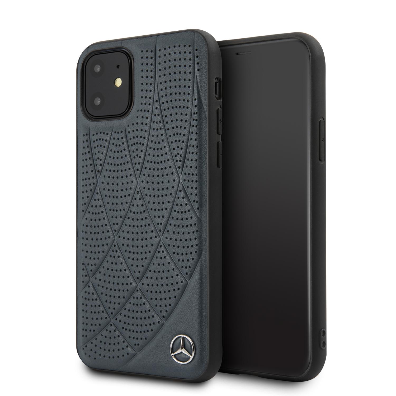 Mercedes Genuine Leather zadní kryt MEHCN61DIQNA pro Apple iPhone 11 blue