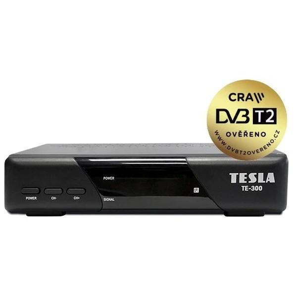 Stolní Set Top Box TESLA TE-300 Black, DVB-T2 HEVC FTA přijímač a rekordér s USB