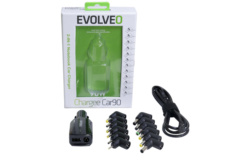 Univerzální autonabíječka pro notebooky Evolveo Chargee Car90, 12V 90W