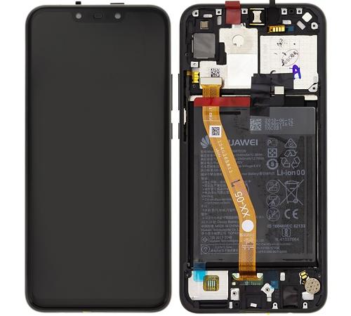 ND Huawei Nova 3i LCD + dotyková jednotka + rámeček black/černá (Service Pack)