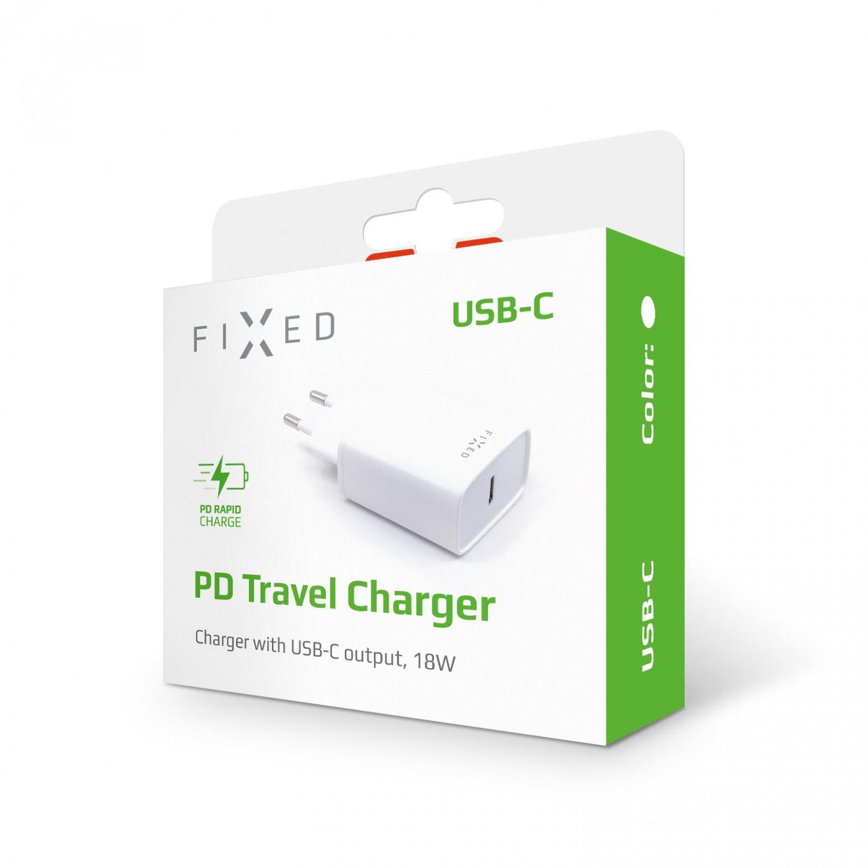 Síťová nabíječka FIXED s USB-C výstupem a podporou PD, 18W, bílá