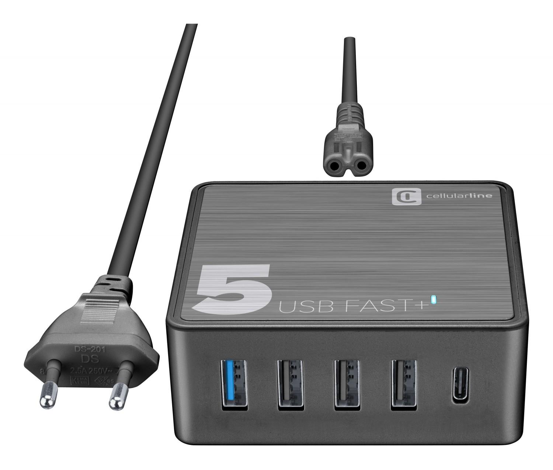 Síťová nabíječka Cellularline Multipower 5 Fast+ pro notebooky i smartphony, 4xUSB + USB-C port, 60W, černá