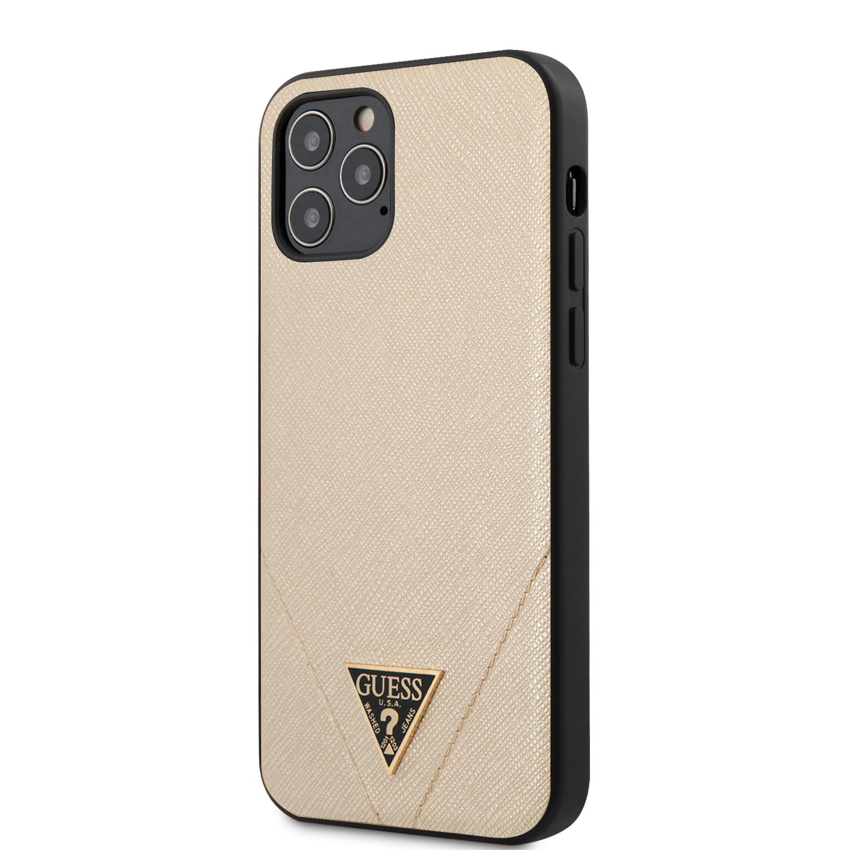 Guess Saffiano V Stitch zadní kryt GUHCP12MVSATMLLG Apple iPhone 12/12 Pro gold