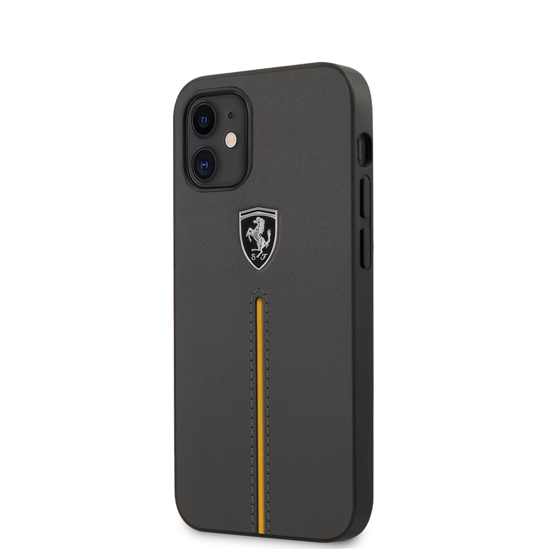 Ferrari Off Track kožený kryt FEOMSHCP12SDG Apple iPhone 12 mini dark grey