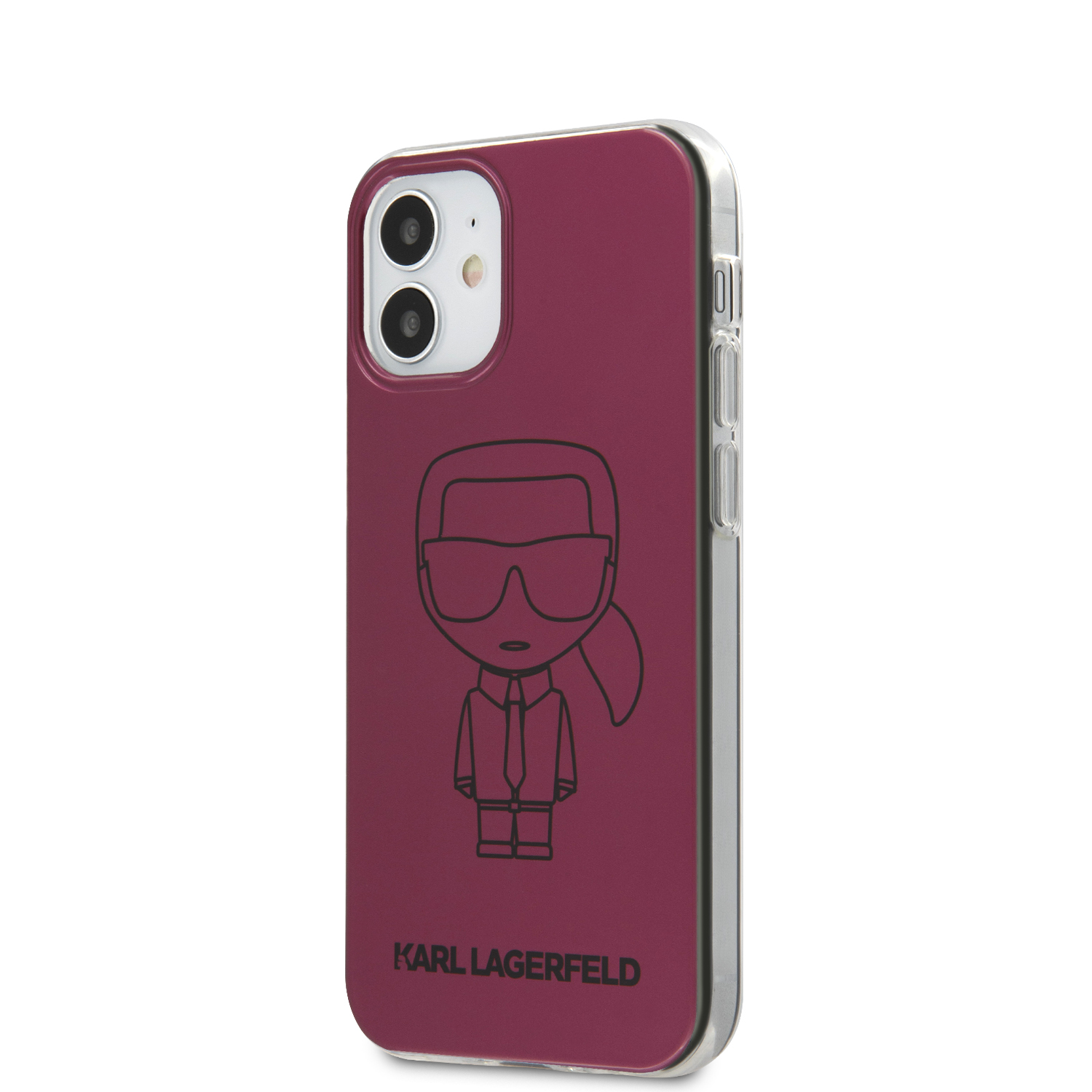 Karl Lagerfeld Metallic Iconic Outline kryt KLHCP12SPCUMIKPI Apple iPhone 12 mini pink