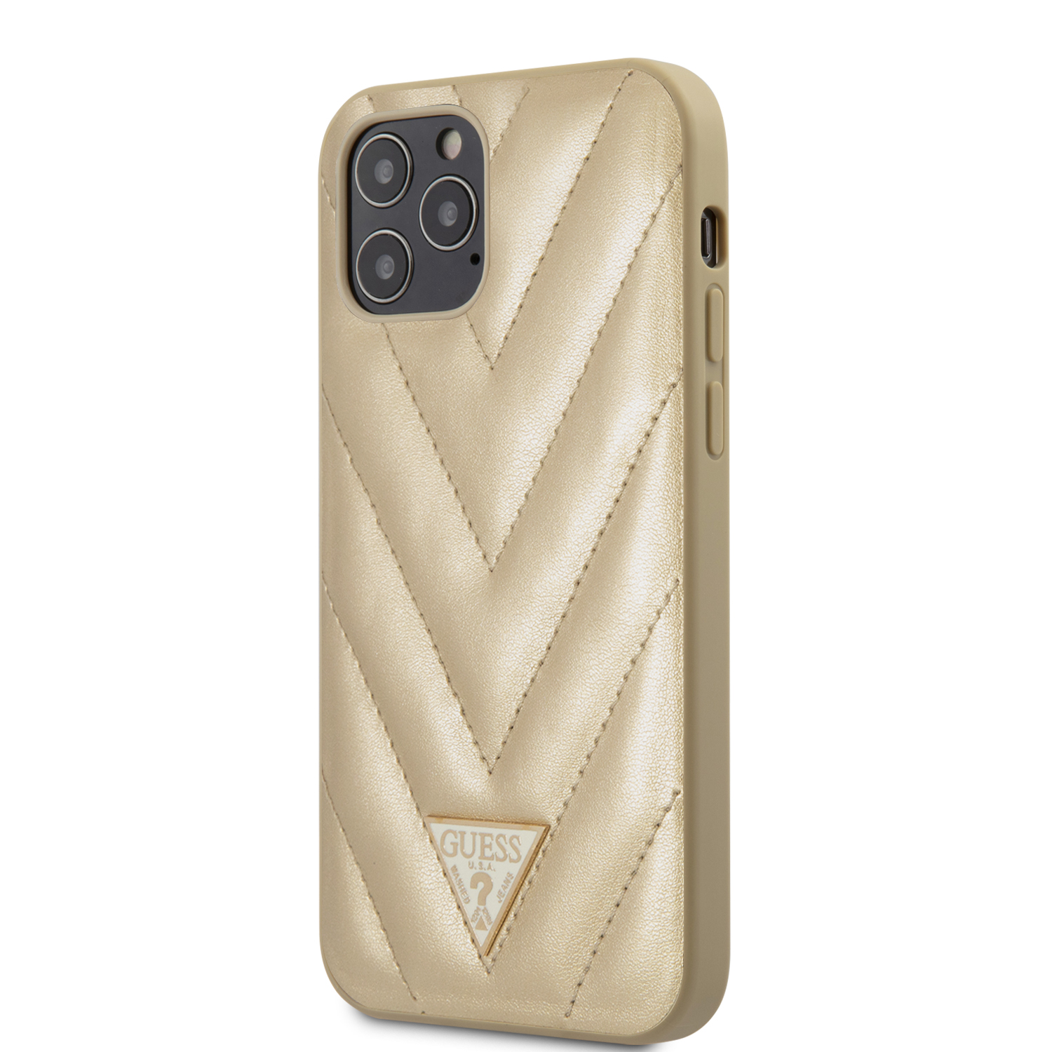 Guess V Quilted zadní kryt GUHCP12MPUVQTMLBE Apple iPhone 12/12 Pro gold