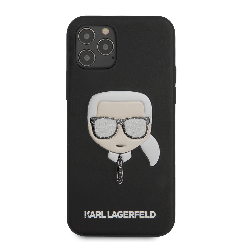 Karl Lagerfeld Glitter Head zadní kryt KLHCP12MGLBK Apple iPhone 12/12 Pro black