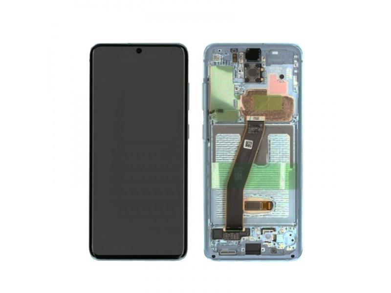 LCD + dotyk + rámček pre Samsung Galaxy S20, white (Service Pack)