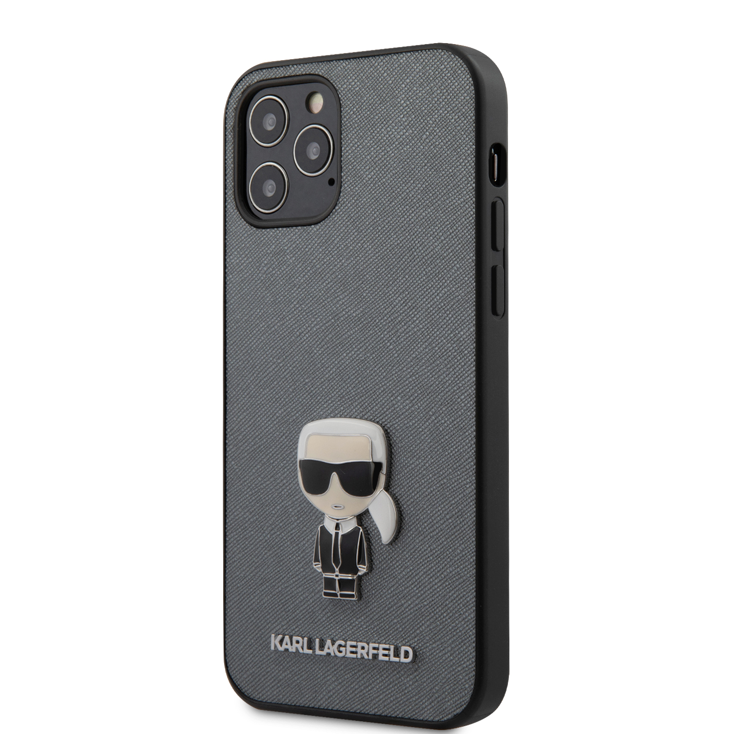 Karl Lagerfeld Saffiano Iconic kryt KLHCP12LIKMSSL Apple iPhone 12 Pro Max silver