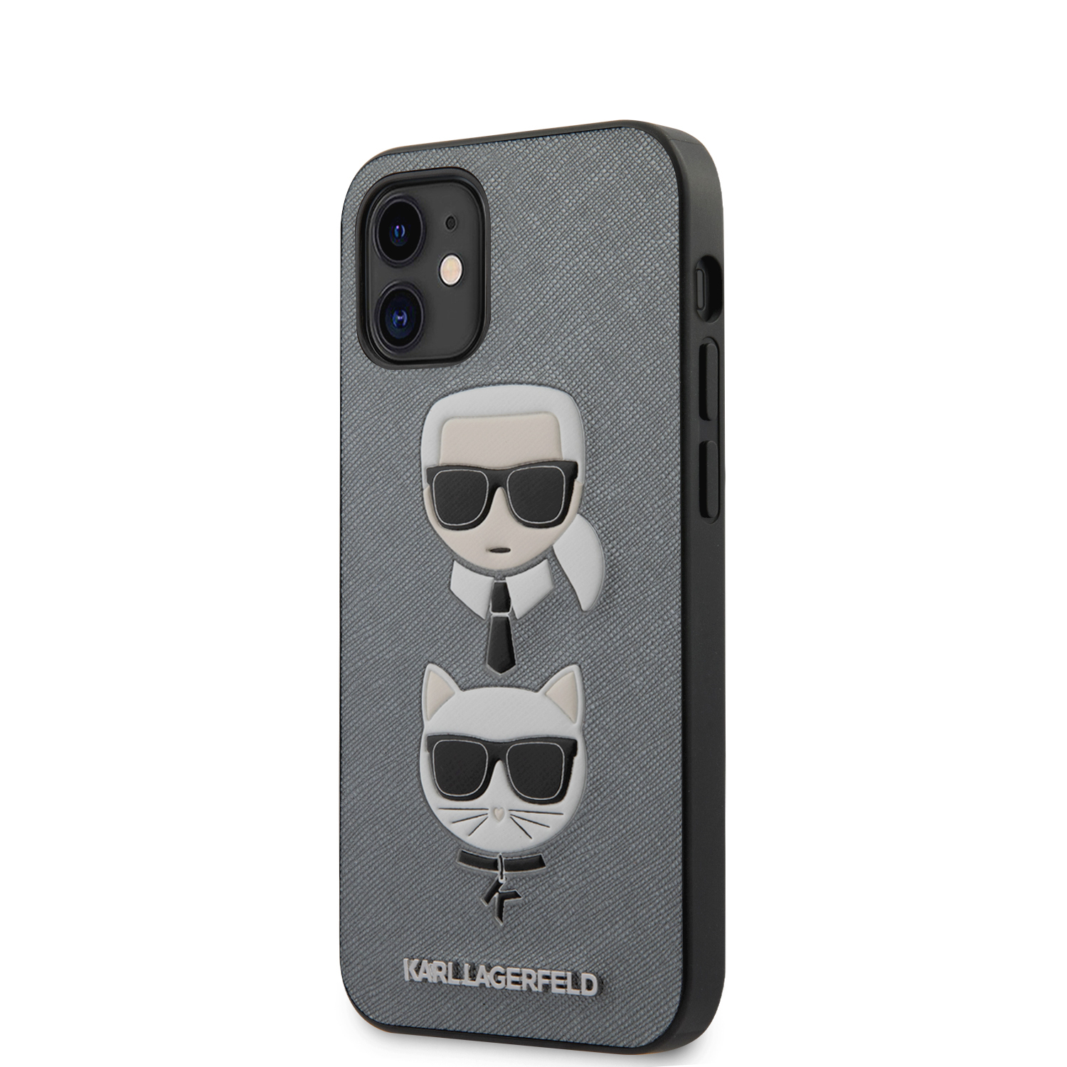 Karl Lagerfeld Saffiano K&C Heads kryt KLHCP12SSAKICKCSL Apple iPhone 12 mini silver