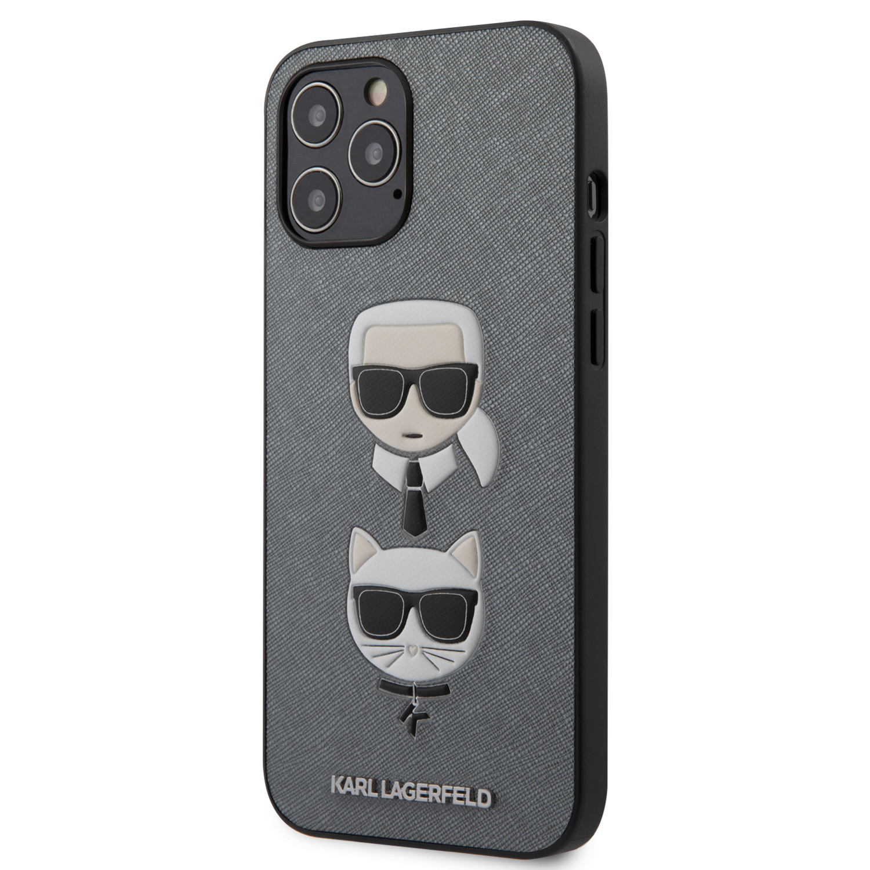 Karl Lagerfeld Saffiano K&C Heads kryt KLHCP12LSAKICKCSL Apple iPhone 12 Pro Max silver
