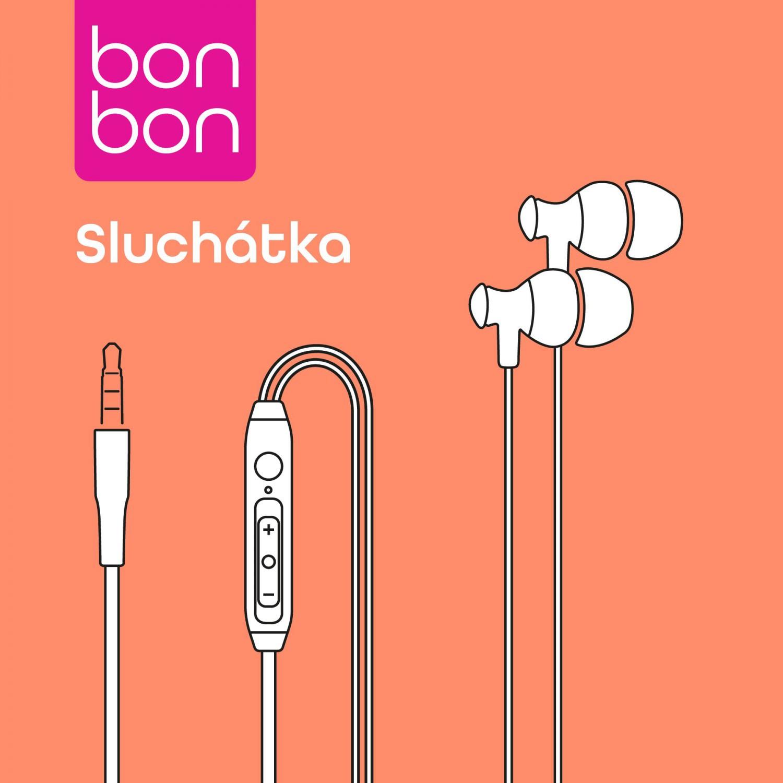 Sluchátka BonBon s mikrofonem 3,5 mm jack white