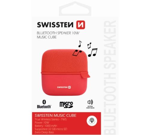 Bluetooth reproduktor SWISSTEN MUSIC CUBE, červená