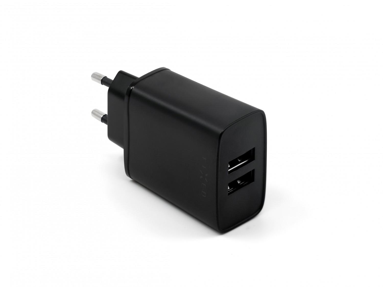 Síťová nabíječka FIXED, 2xUSB, 15W Smart Rapid Charge, black