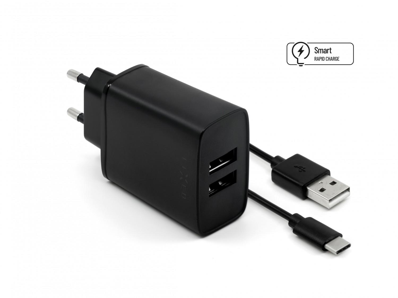Síťová nabíječka FIXED, 2xUSB výstup a USB/USB-C kabel, 1m, 15W black