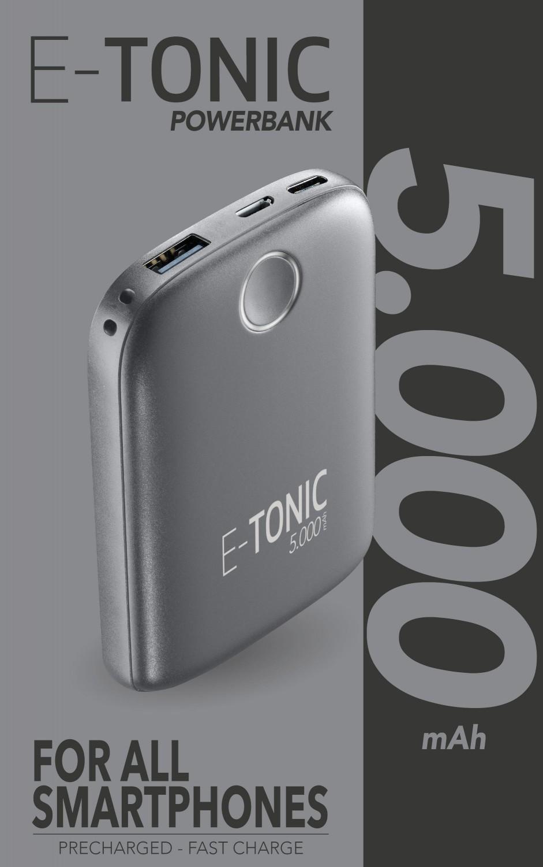 Kompaktní powerbanka E-Tonic 5000 mAh černá