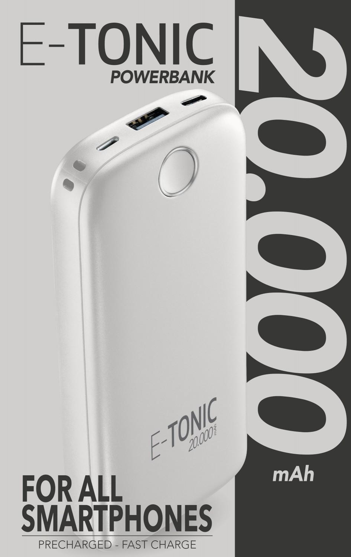 Kompaktní powerbanka E-Tonic 20 000 mAh bílá