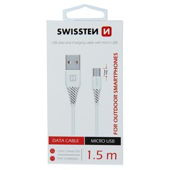 Datový kabel SWISSTEN USB / MICRO USB 1,5m white (9mm)