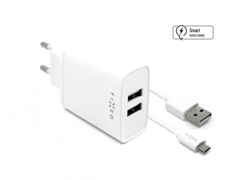 Síťová nabíječka FIXED, 2xUSB a kabel USB/micro USB, 1m, 15W white