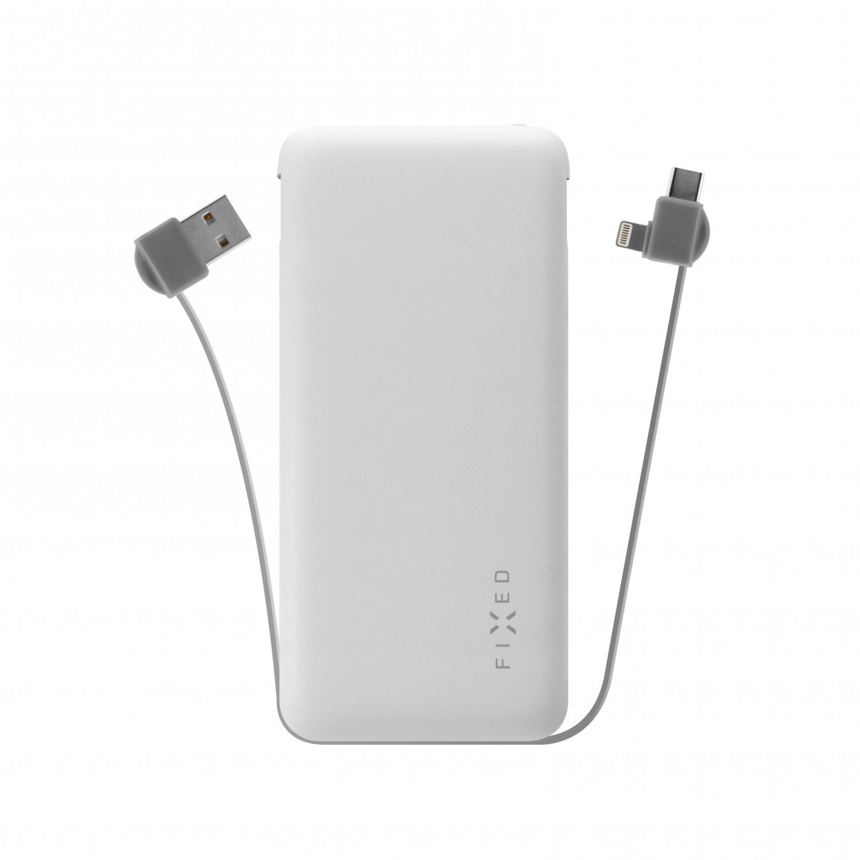 Powerbanka FIXED Zen 10 000 s kabelem Lightning/USB-C white 000 s kabelem Lightning/USB-C, 10 000 mAh, bílá