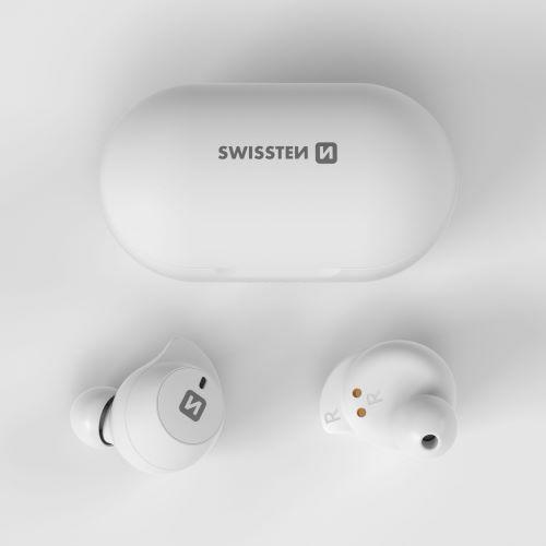 Bluetooth TWS sluchátka Swissten Stonebuds bílá