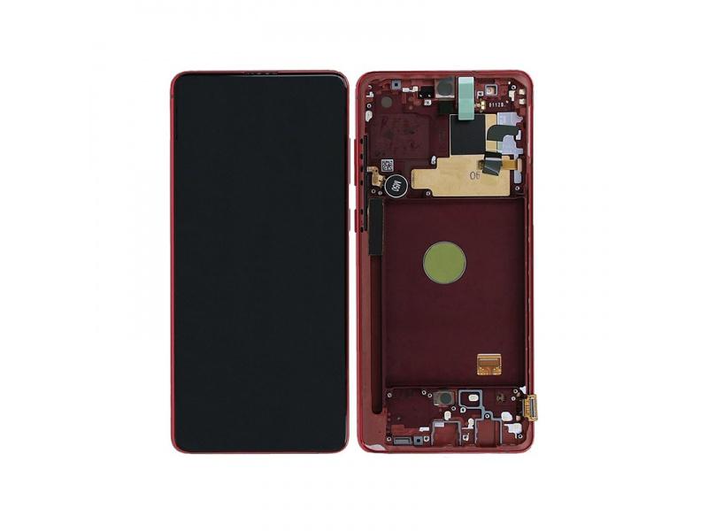 LCD + dotyk + rámček pre Samsung Galaxy Note10 Lite, red (Service Pack)